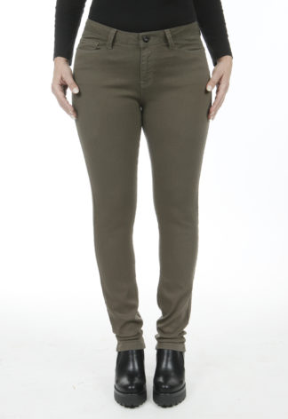 Jeans slim taille haute stretch Marron