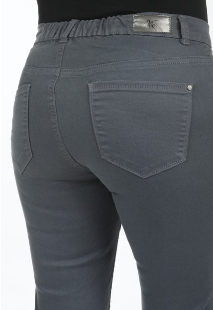 Jeans coupe droite taille haute stretch Gris